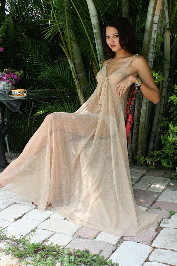 46bfb1e7d060 Sarafina Dreams Sheer Mesh Lace Nightgown -  125.00