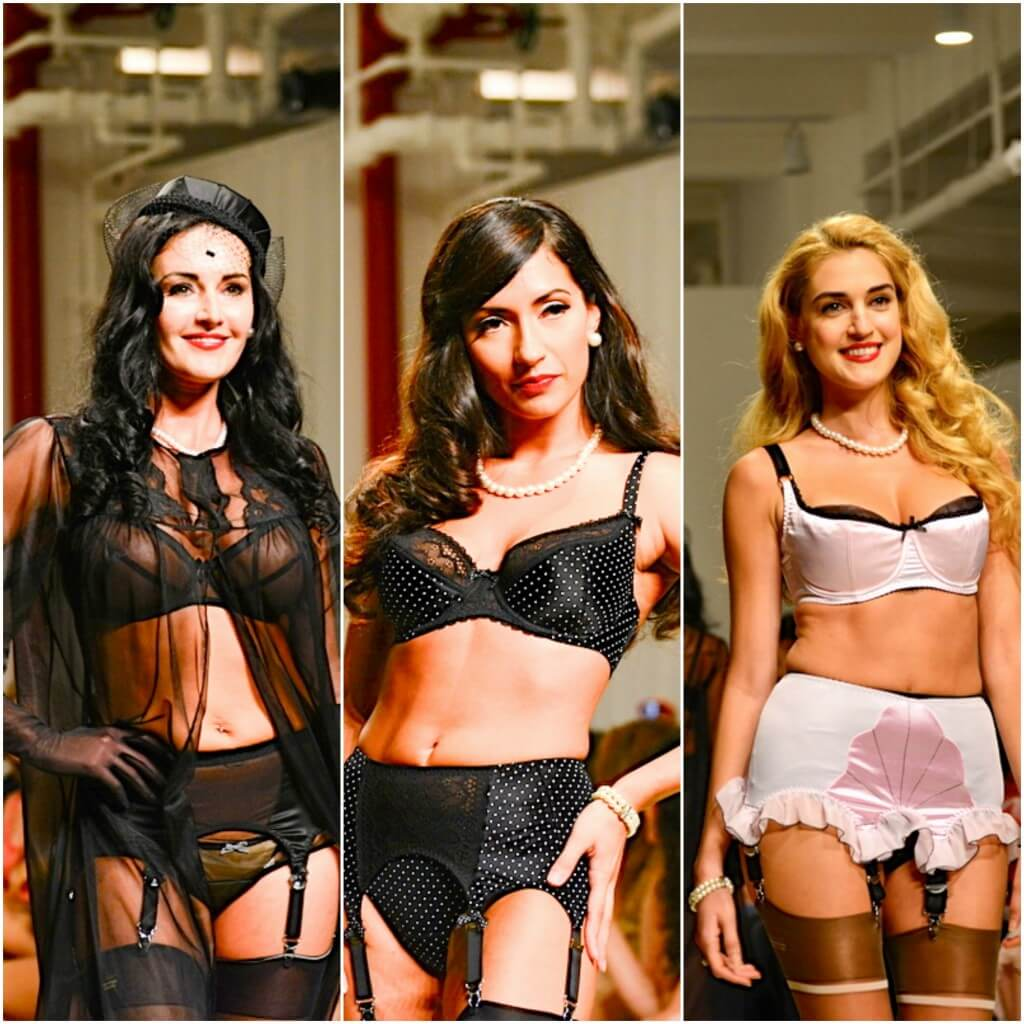 Looks from the Secrets in Lace runway show.