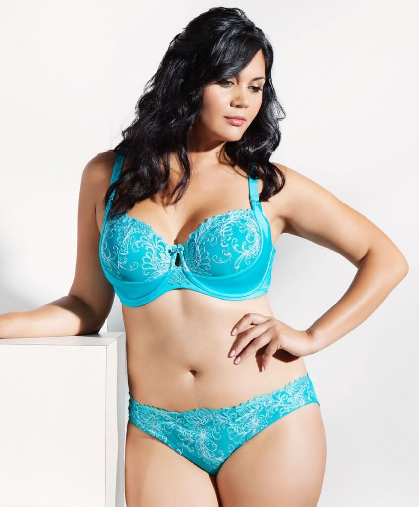 Silver Lagoon Embroidered Underwire Bra by Curvy Couture  34C to 44H (US sizing)