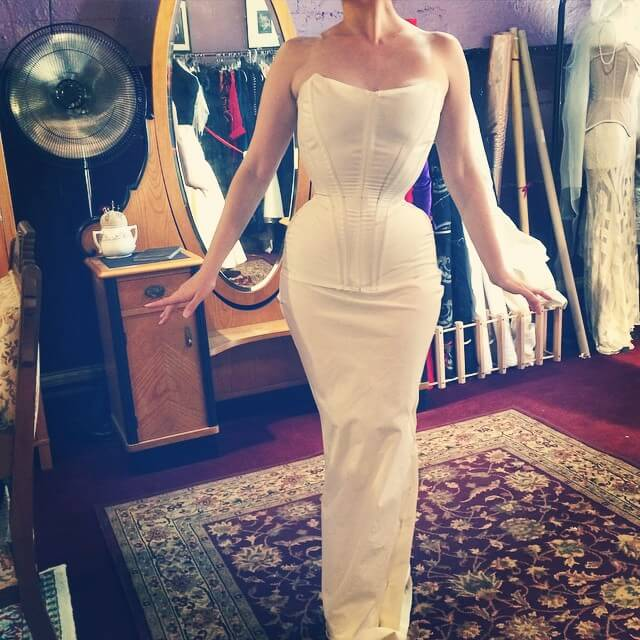 Mockup fitting for wedding corset ensemble. via @popantique on Instagram