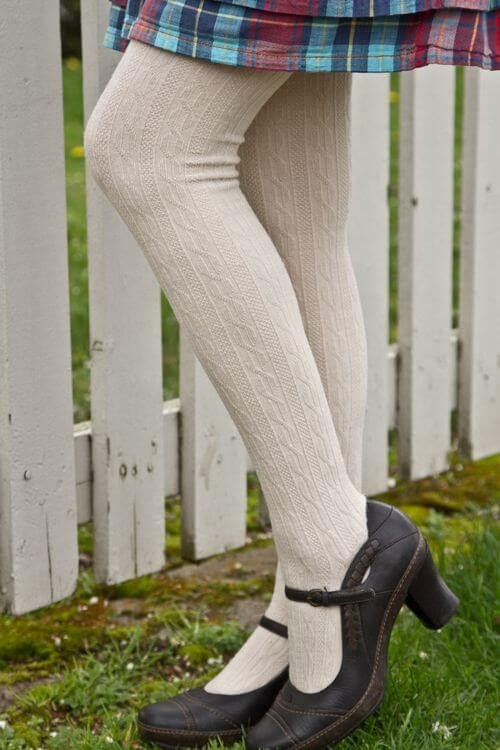 Tabbisocks Classic Cable Tights in ecru. Winter Lingerie. Cold Weather.