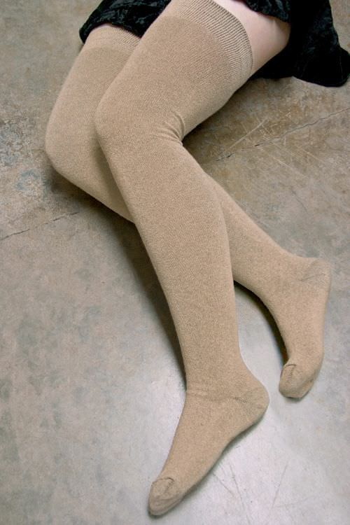Sock Dreams Extraordinarily Longer Thigh High in tan. Winter Lingerie. Cold Weather.