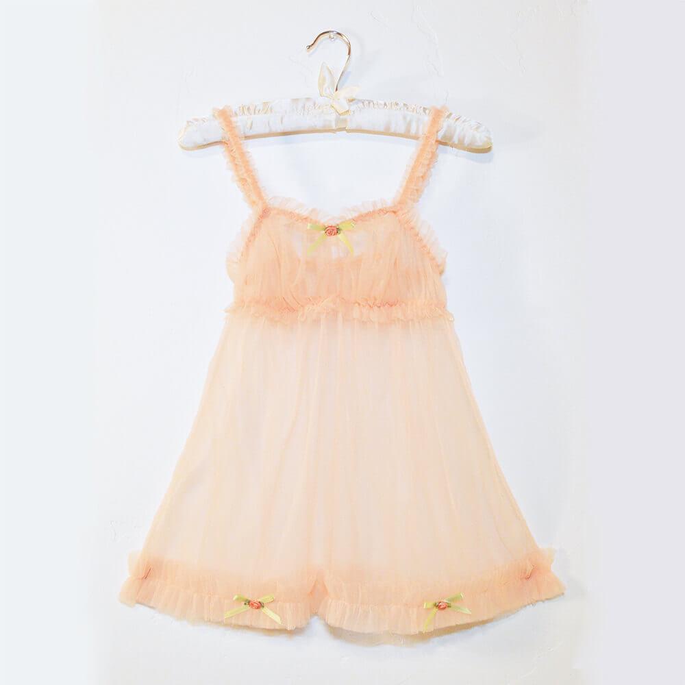 sugar lace lingerie peach ruffle babydoll