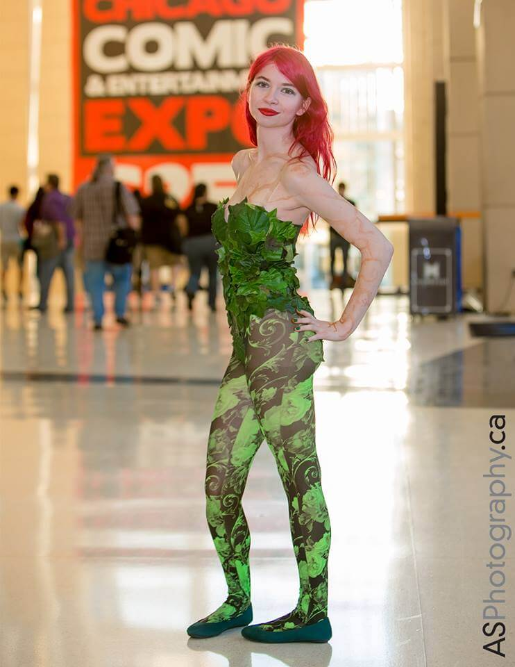 The author in her finished Poison Ivy Cosplay.