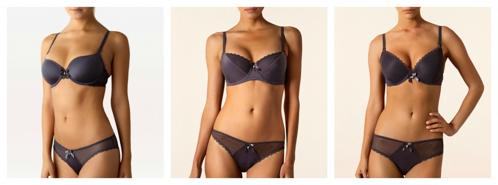 The Bergonia Collection - Another gorgeous color (I love deep, charcoal-y grays for winter), but again, the shapes fall flat. The center bra, a non-padded underwire, is all right, but I honestly think this entire range could have been edited out with no loss to the debut collection. The sense I get overall is that there was not enough editing done before release.