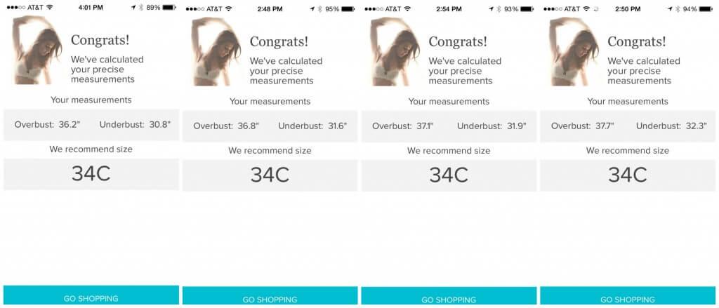 third love bra fitting app results