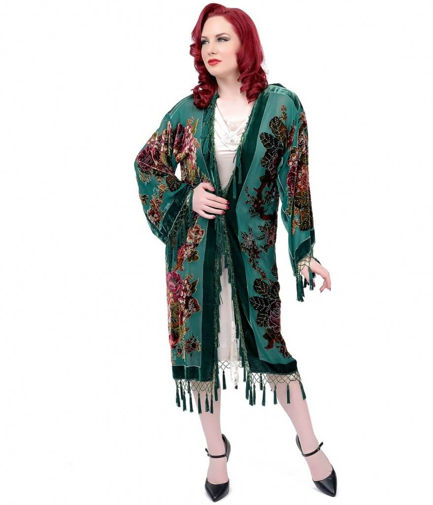 unique vintage fringed hunter green robe