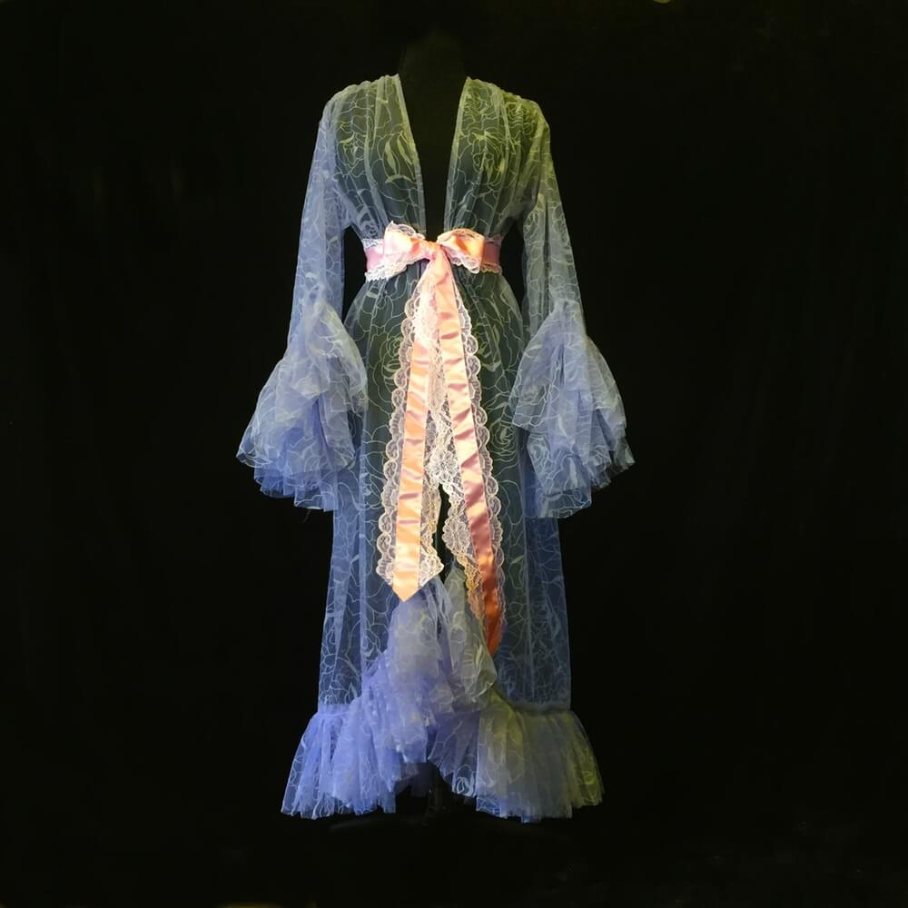 velvet flocked rose gown