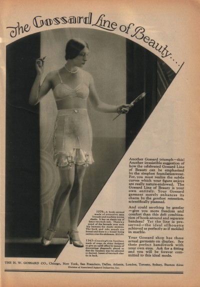 "1928 Gossard ad, proclaiming ""[t]he ideal silhouette achieved as perfectly as if molded in marble."" via flickr."