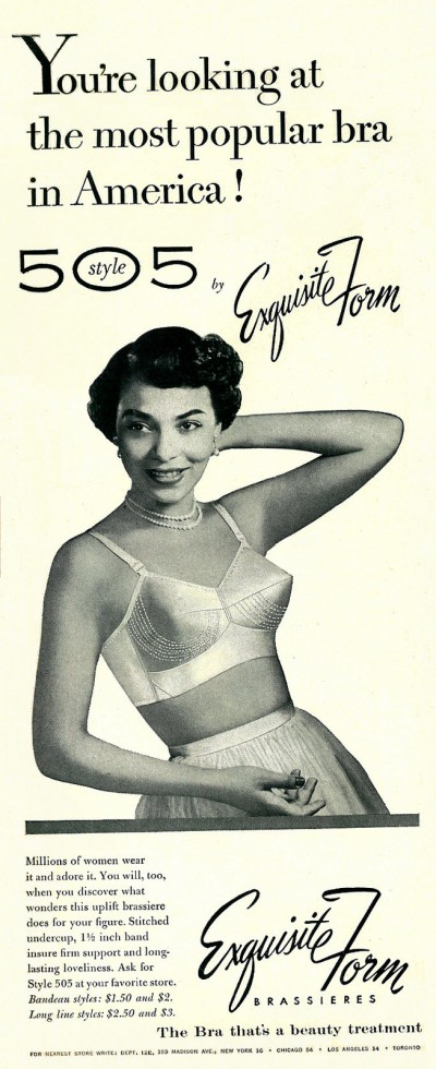 1953 Exquisite Form advertisement, via flickr. https://www.flickr.com/groups/vintage_lingerie/