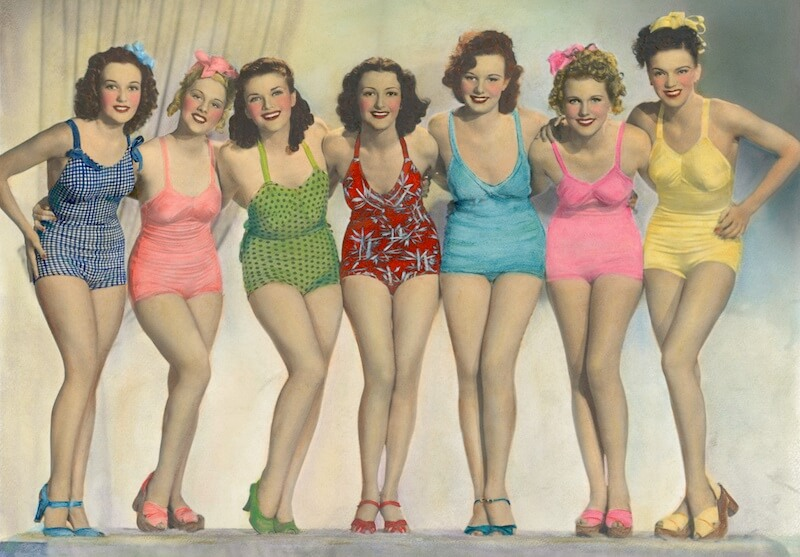 vintage bathing suits colorized 1