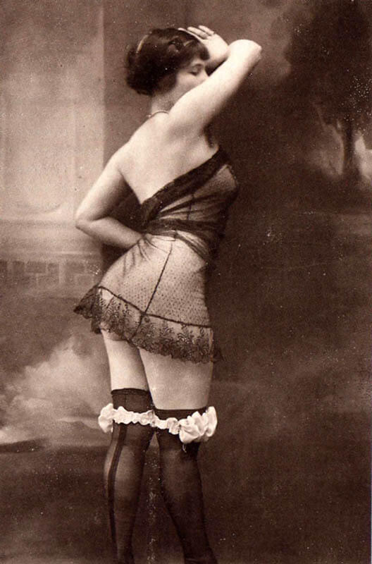 Vintage pinup in stockings and sheer negligee. Via candiesforeveryone on DeviantArt.