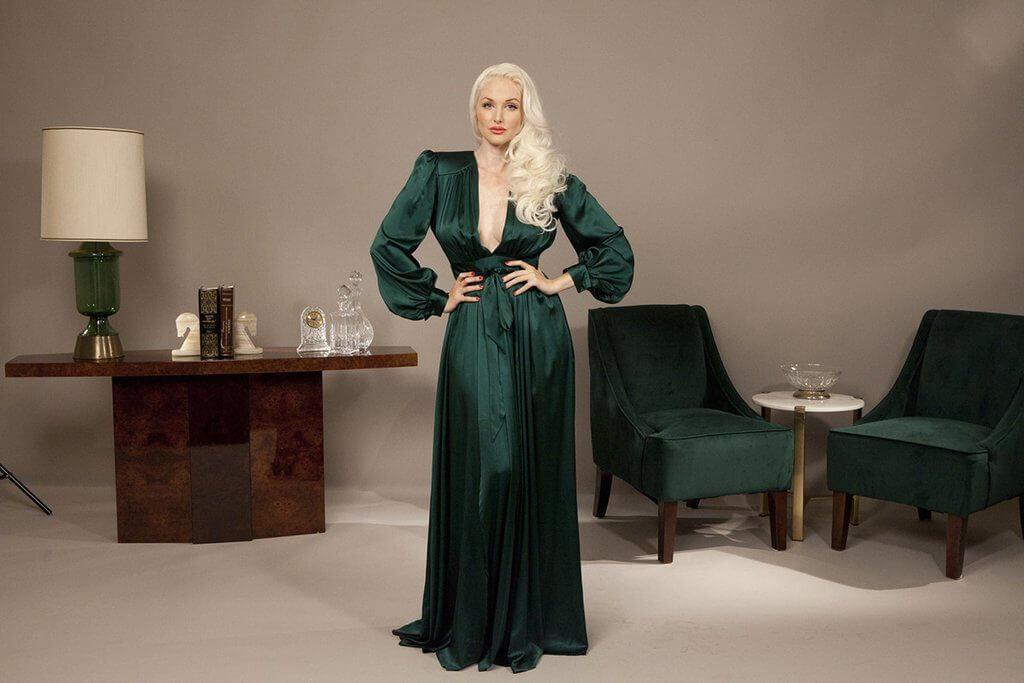vivian dressing gown emerald green 2