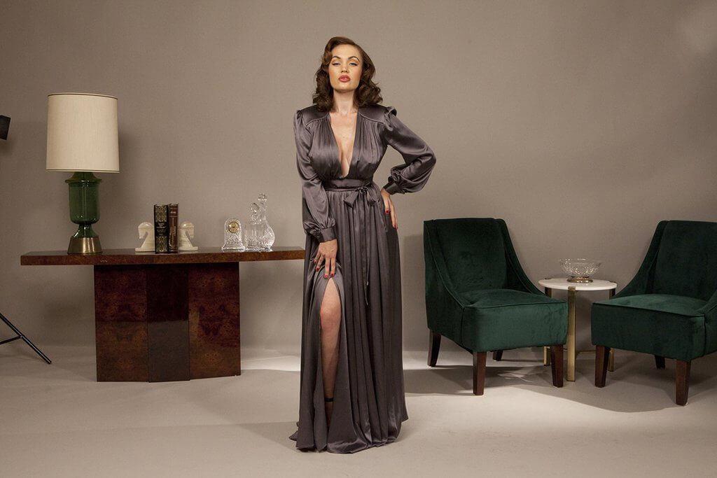 vivian dressing gown gunmetal gray