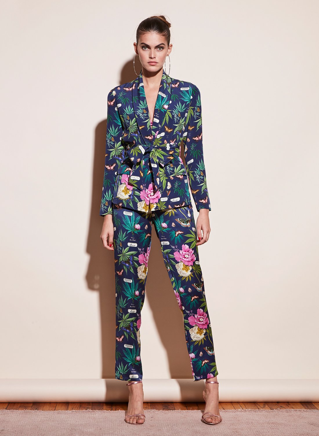 """In Fleur du Mal's """"Papillon"""" print, the cannabis leaf is almost hidden among other botanicals"""
