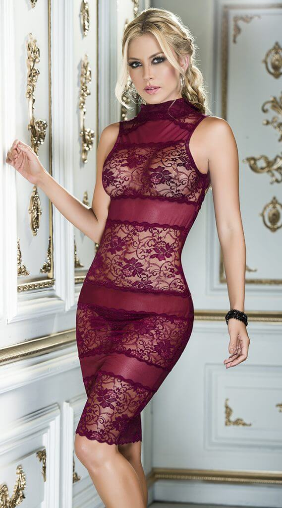 Romantic Burgundy Chemise Set